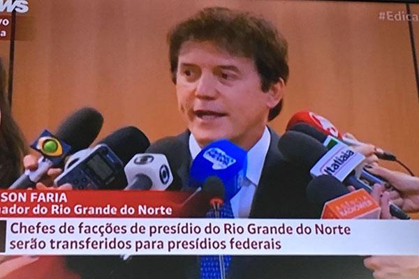 Robinson concede entrevista em Brasília