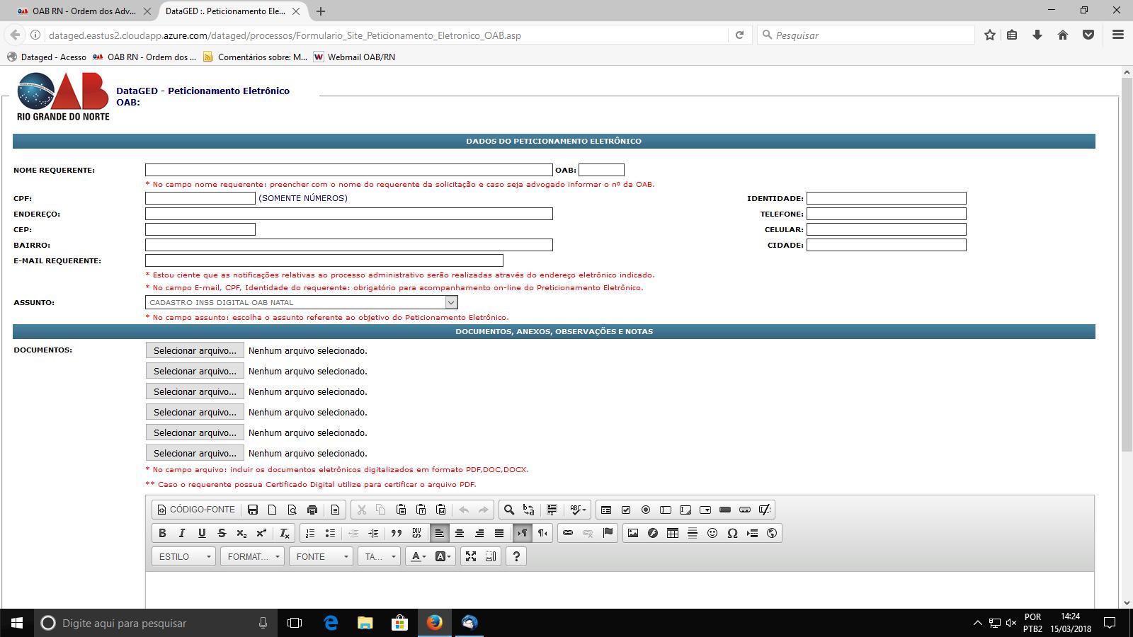 Advocacia do RN terá acesso a plataforma INSS Digital