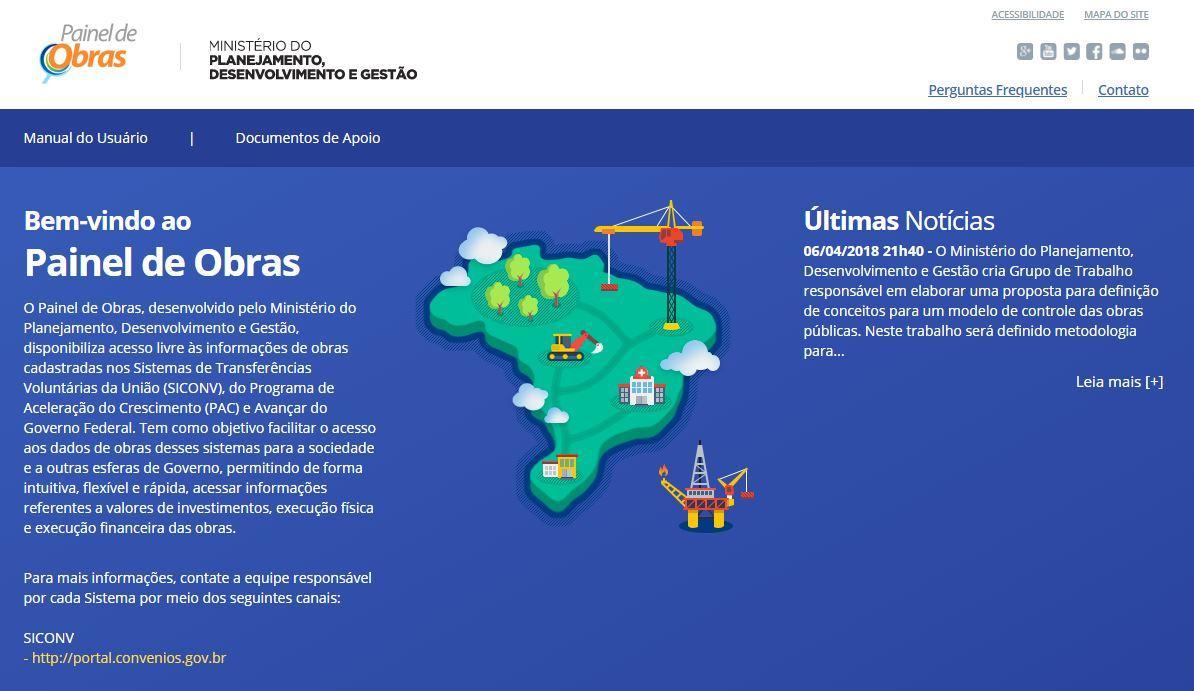 Governo lança painel que permite acompanhamento de 98,5 mil obras