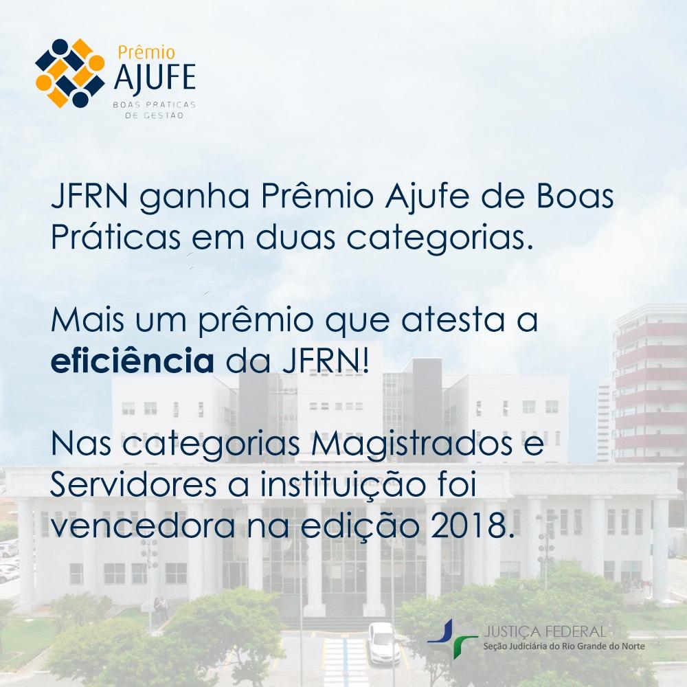 JFRN ganha Prêmio Ajufe de Boas Práticas em duas categorias