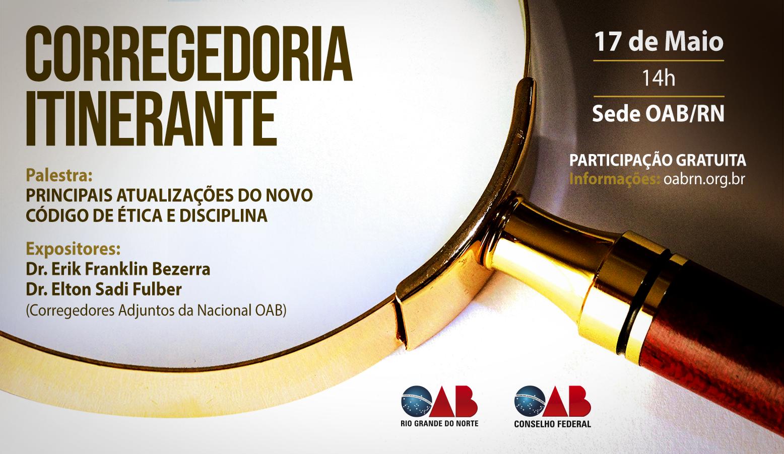 OABRN receberá Corregedoria Itinerante no dia 17 de maio