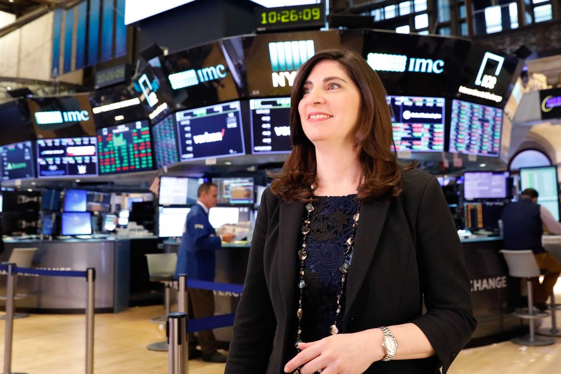 NYSE Chief Operating Officer Stacey Cunningham, who will be the New York Stock Exchange's (NYSE) first woman president, appears at the NYSE in New York, U.S. May 22, 2018. REUTERS/Brendan Mcdermid