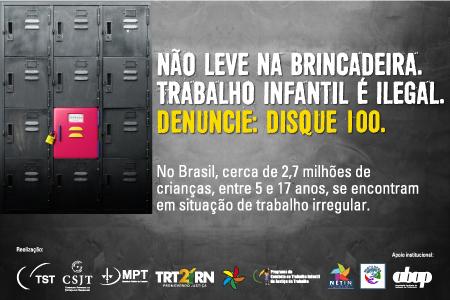 TRT-RN lança campanha de Combate ao Trabalho Infantil nesta segunda (19)