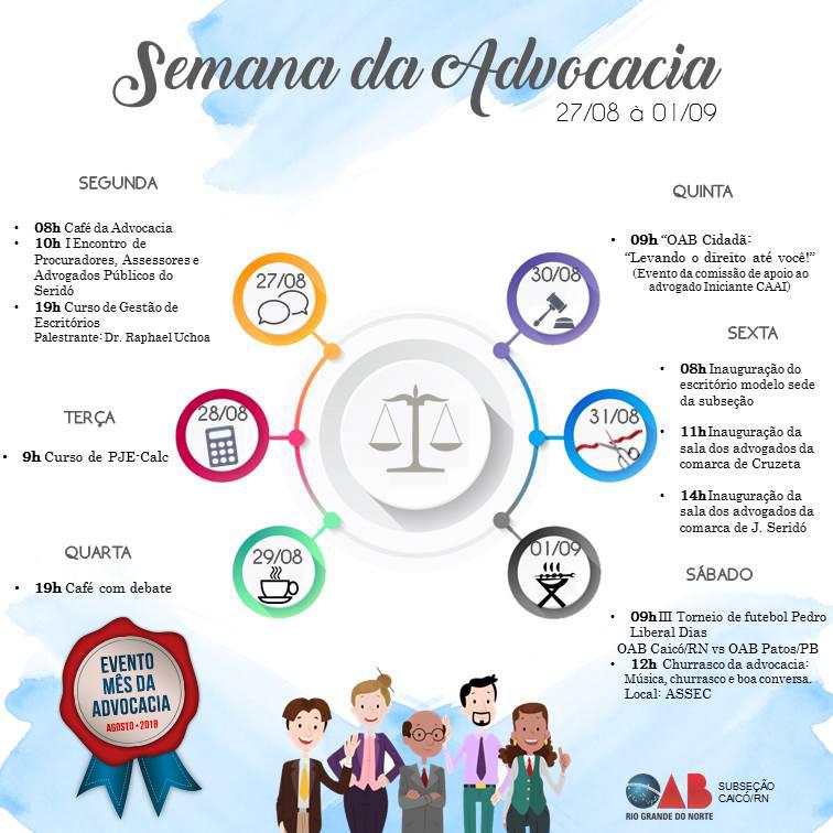 OAB Caicó realizará Semana Advocacia de 27 de agosto a 01 de setembro