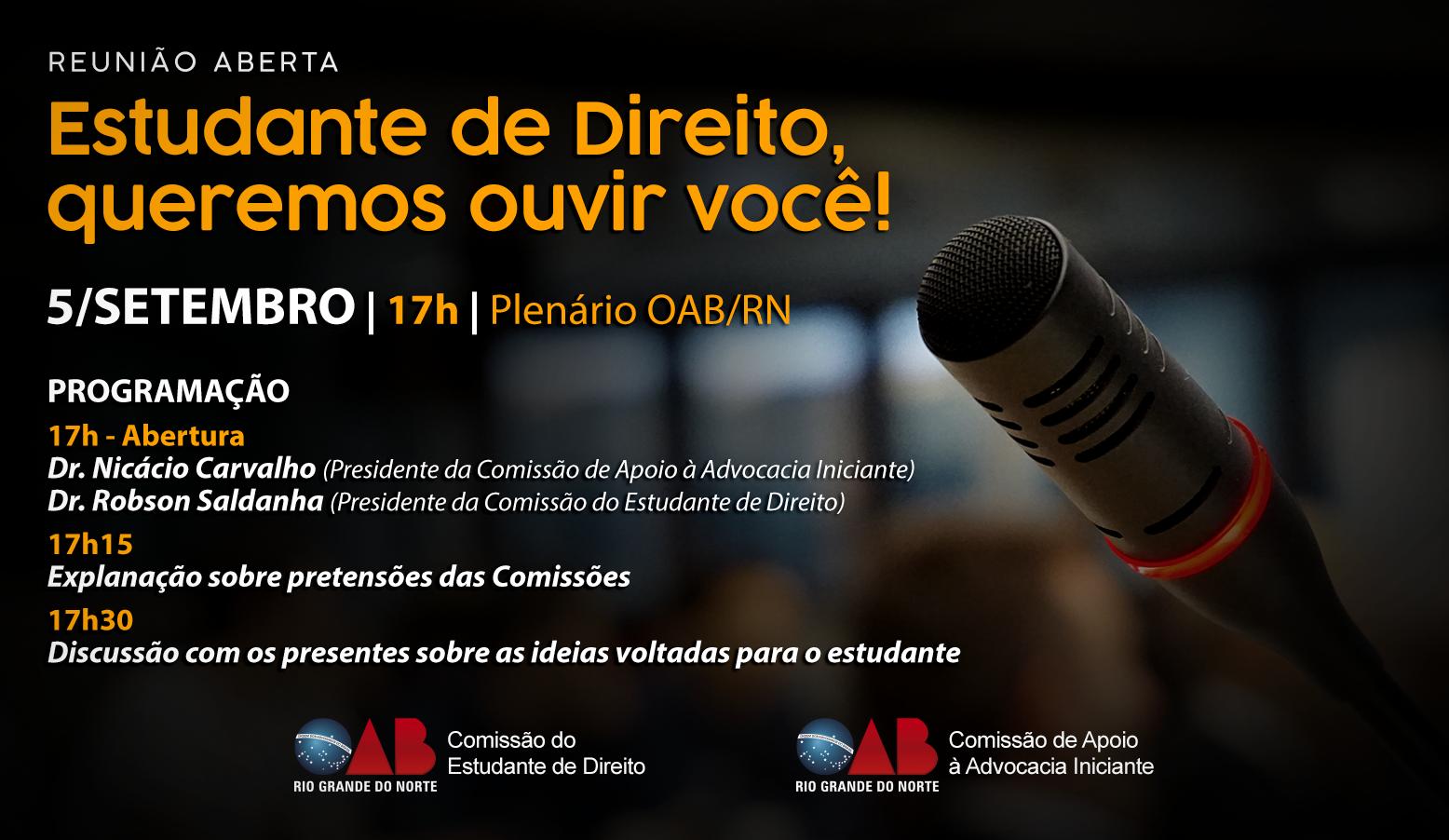 OAB RN realiza reunião aberta sobre rumos dos cursos de Direitos