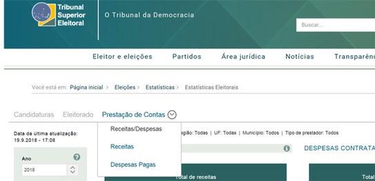 Dados consolidados sobre prestação de contas de campanhas podem ser acessados no portal do TSE