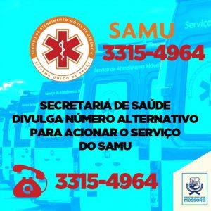 Secretaria de saúde divulga número alternativo para acionar o serviço do samu