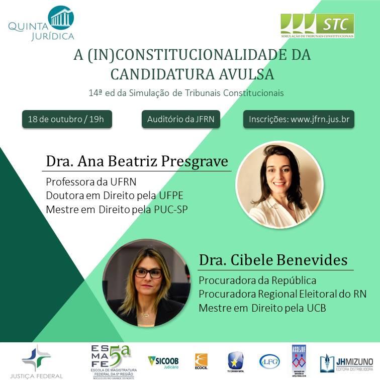 Nova edição da Quinta Jurídica discutirá candidaturas avulsas
