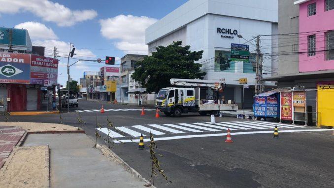 Prefeitura de Mossoró inicia recuperação de faixas de pedestres