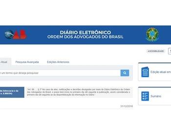 Entra em vigor o Diário Eletrônico da OAB