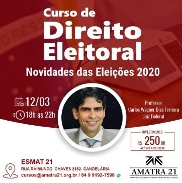 Mudanças nas Leis eleitorais serão abordadas em curso da AMATRA